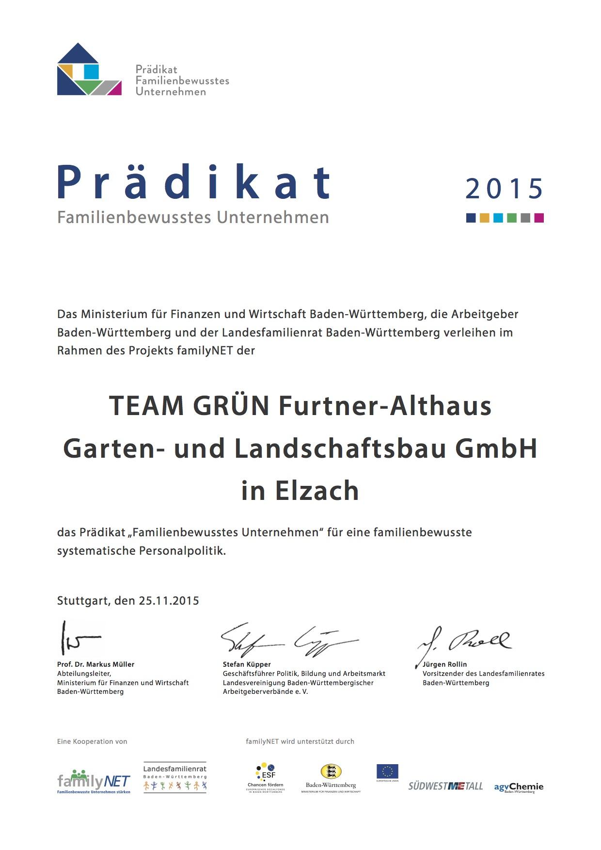 Auszeichnungen Team Grün Furtner Althaus Garten & Landschaftsbau