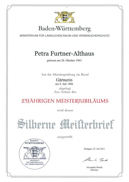 Team Grün Elzach – Petra Furtner-Althaus erhält Silbernen Meisterbrief