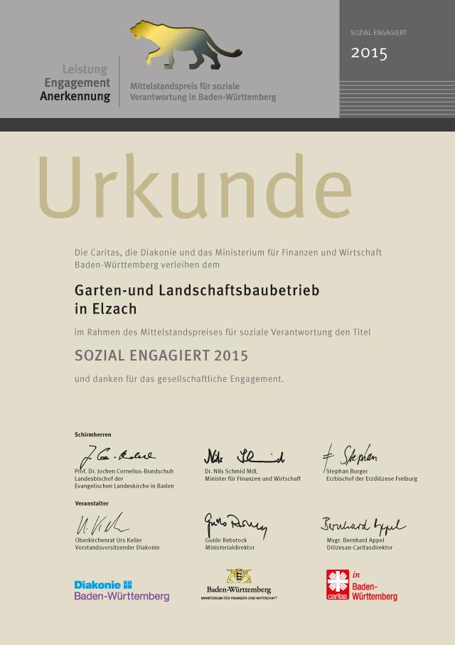 Team Grün Elzach – Sozial engagiert 2015