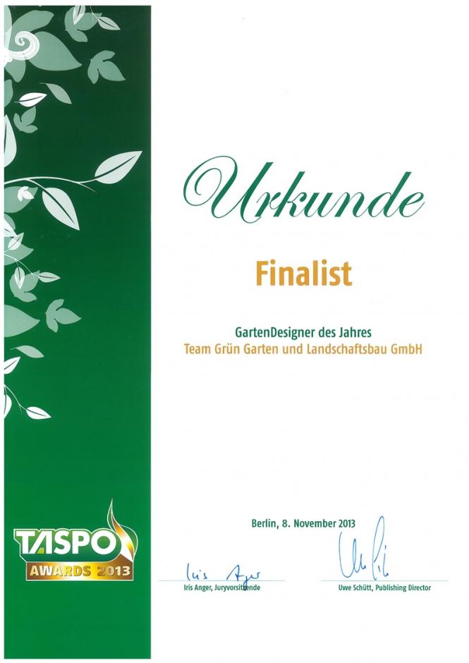 Team Grün Elzachn – TASPO Awards 2013 – GartenDesigner 2013