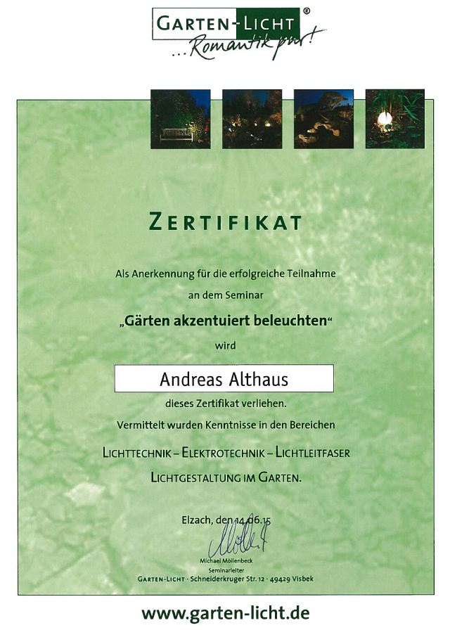 Team Grün Elzach – Zertifikat-Gärten akzentuiert beleuchten