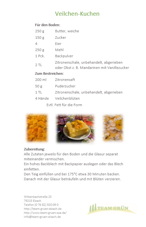 Veilchenkuchen Rezept